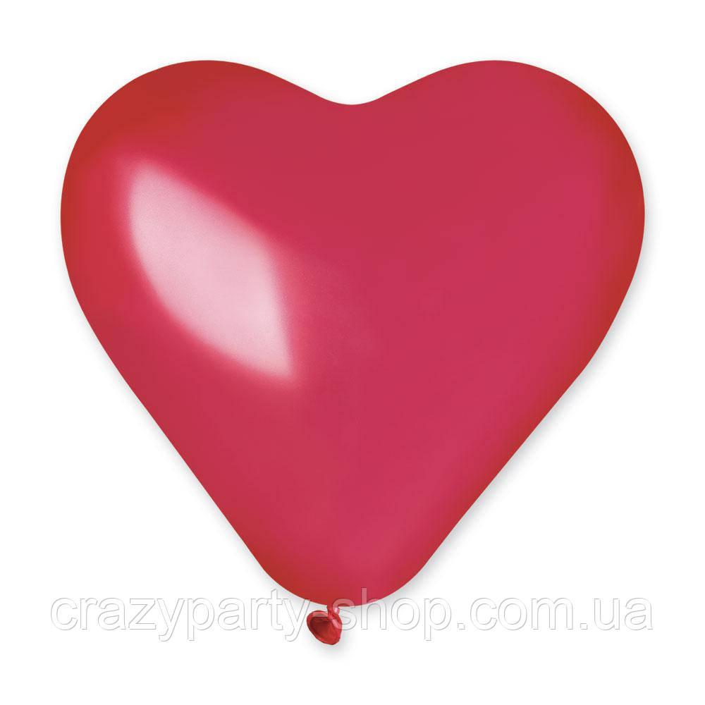 Шар латексный Сердечко 15 дюймов металлик 6 шт