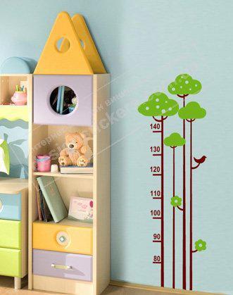 """Дитячий зростомір наклейка в дитячу кімнату """"Ростомір Дерево"""""""