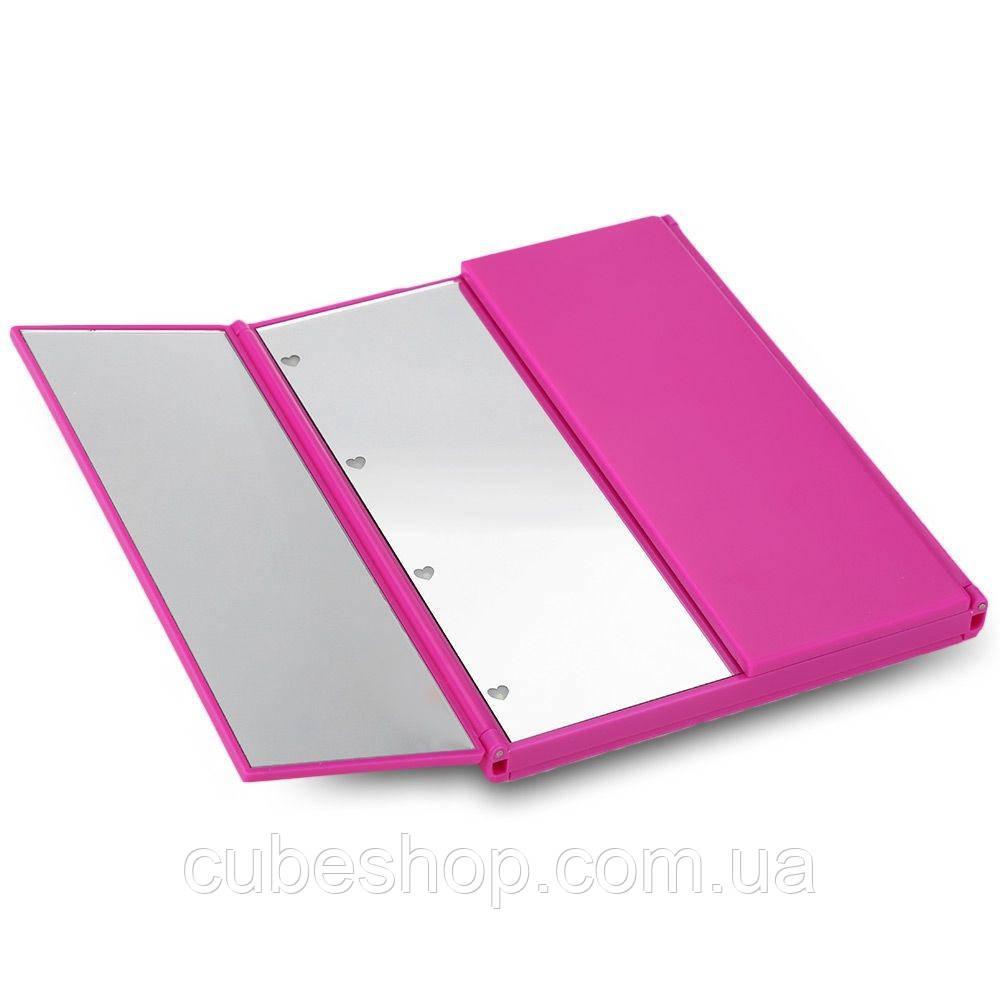 LED-зеркало для макияжа в виде книжечки (розовое)