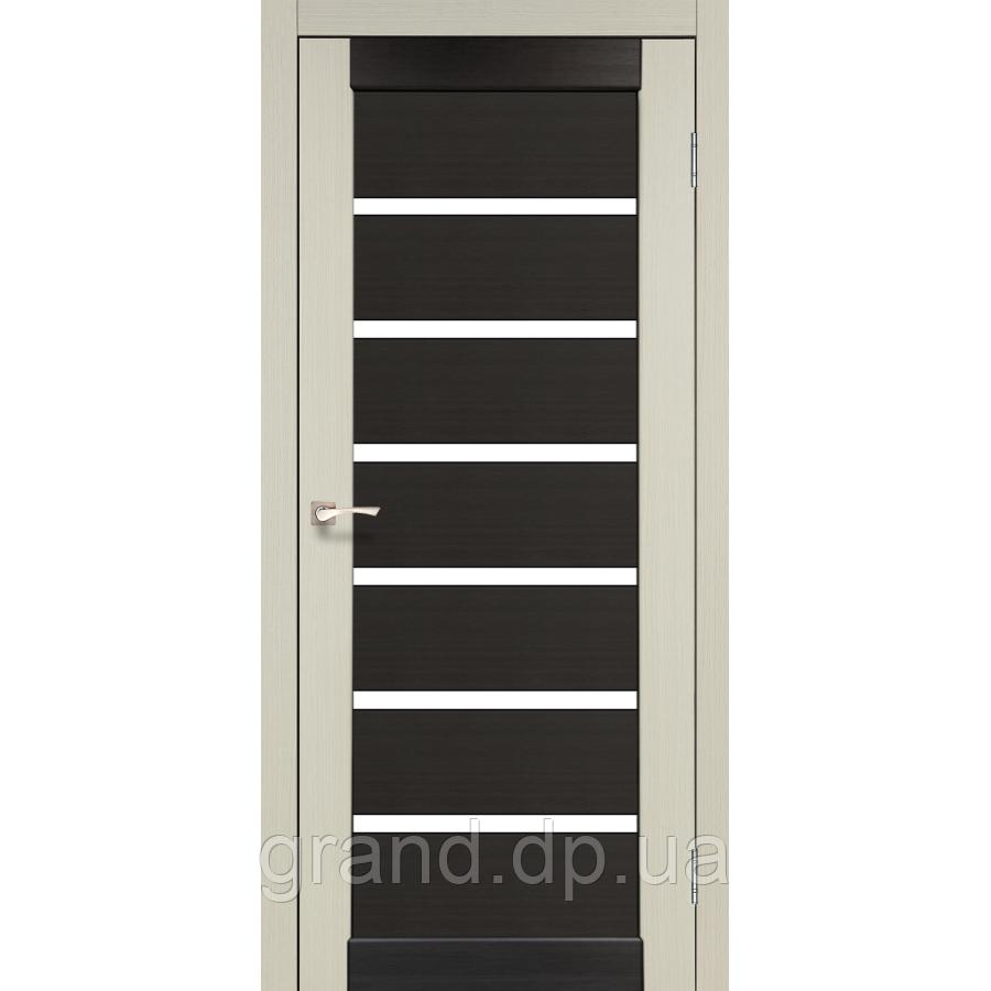 Двери межкомнатные  Корфад PORTO COMBI COLORE Модель: PC-02 дуб беленый/венге c матовым стеклом