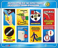 Стенд. Охорона праці при користуванні електропобутовими приладами. 0,6х0,5. Пластик