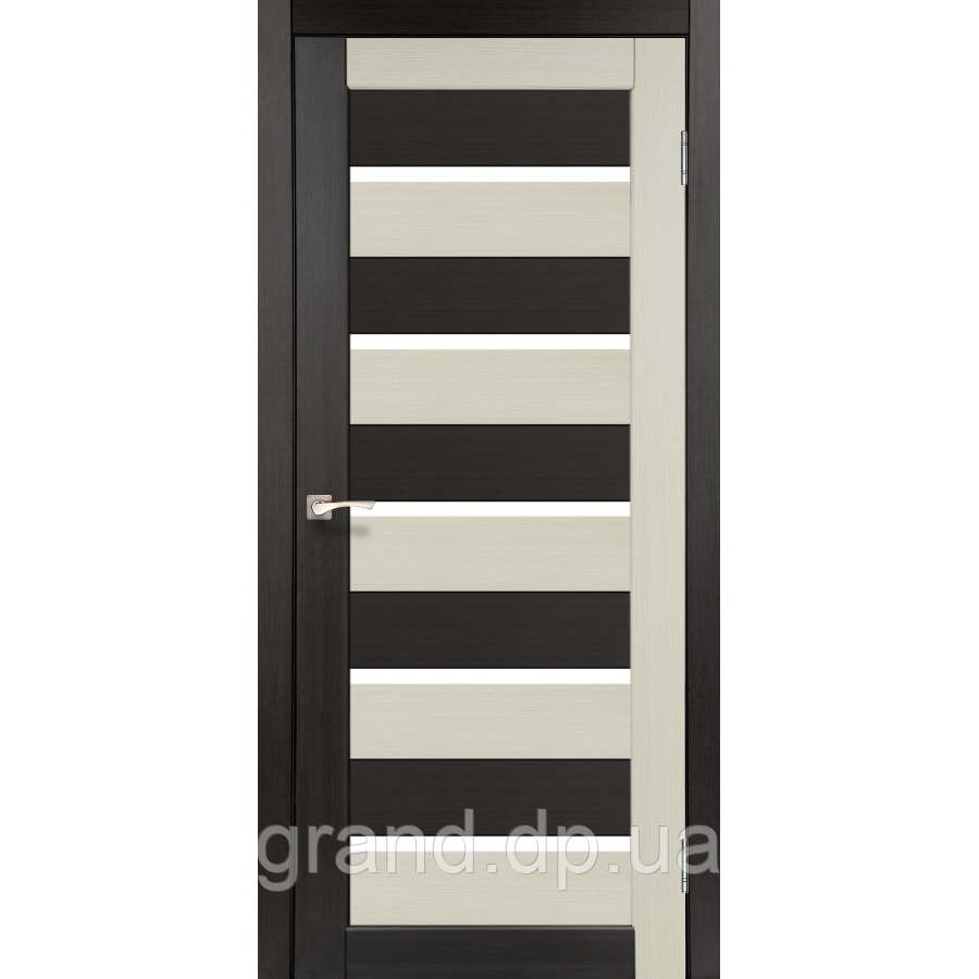 Двери межкомнатные  Корфад PORTO COMBI COLORE Модель: PC-05 дуб беленый/венге c матовым стеклом
