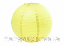 Подвесной бумажный шар плиссе 35 см желтый