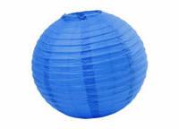 Подвесной бумажный шар плиссе 35 см синий