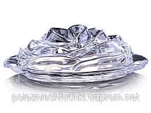 """Масленка стеклянная 19х7х13,7 см. """"Роза"""" овальная, прозрачная"""