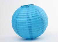 Подвесной бумажный шар 45 см голубой плиссе