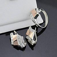 Серебряный набор, кольцо размер 17 + серьги 23*15 мм