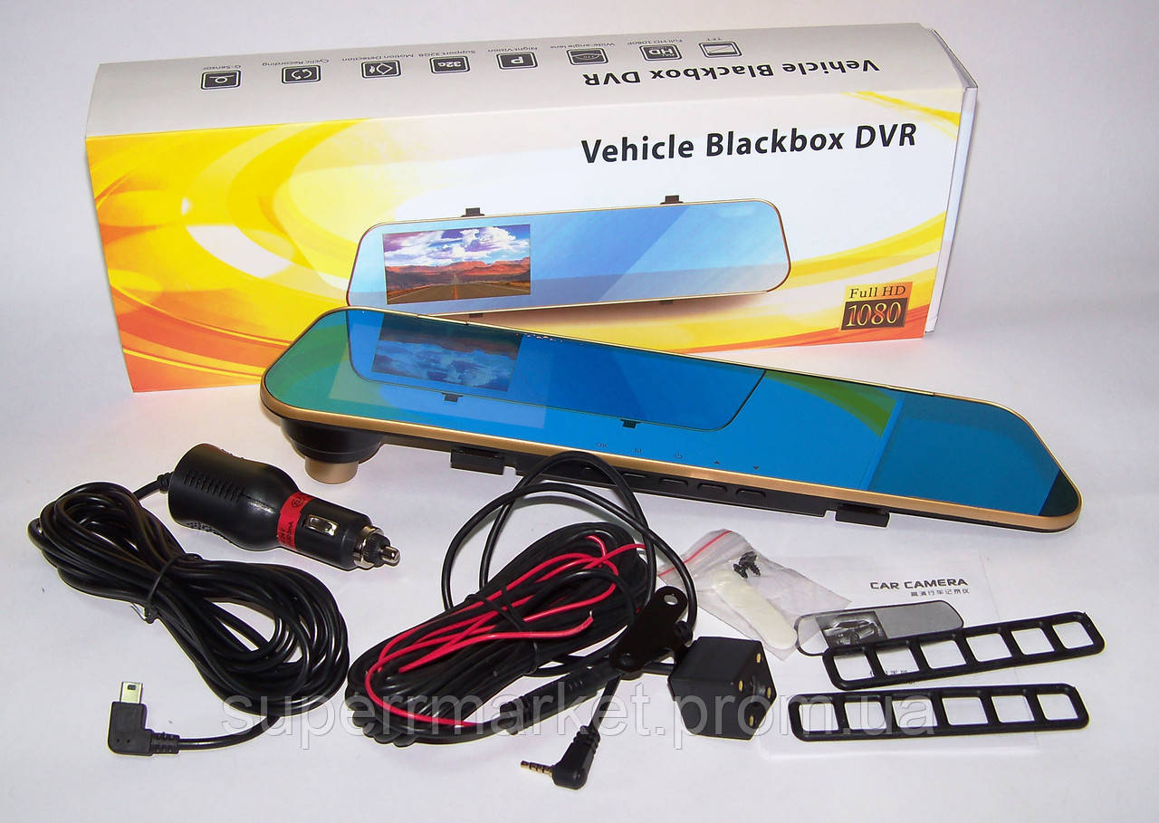 Car DVR DV460 Vehicle Blackbox T1 видеорегистратор зеркало заднего вида с двумя камерами