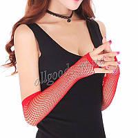 Перчатки сеточка длинные без пальцев митенки (p870) красные