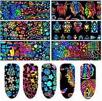Геометрическая фольга для дизайна ногтей 8шт