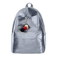 Рюкзак женский бархатный с брелком подвеской (серый), фото 1