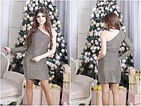 Платье люрекс на одно плечо, оригинальное коктейльное платье. Размеры норма, разные цвета., фото 1