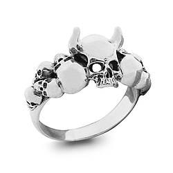 """Серебряное кольцо с черепом """"Повелитель ада"""""""