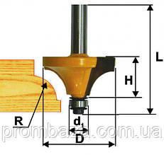 Фреза кромочная калевочная ф28.6х16мм, R8, хв.8мм