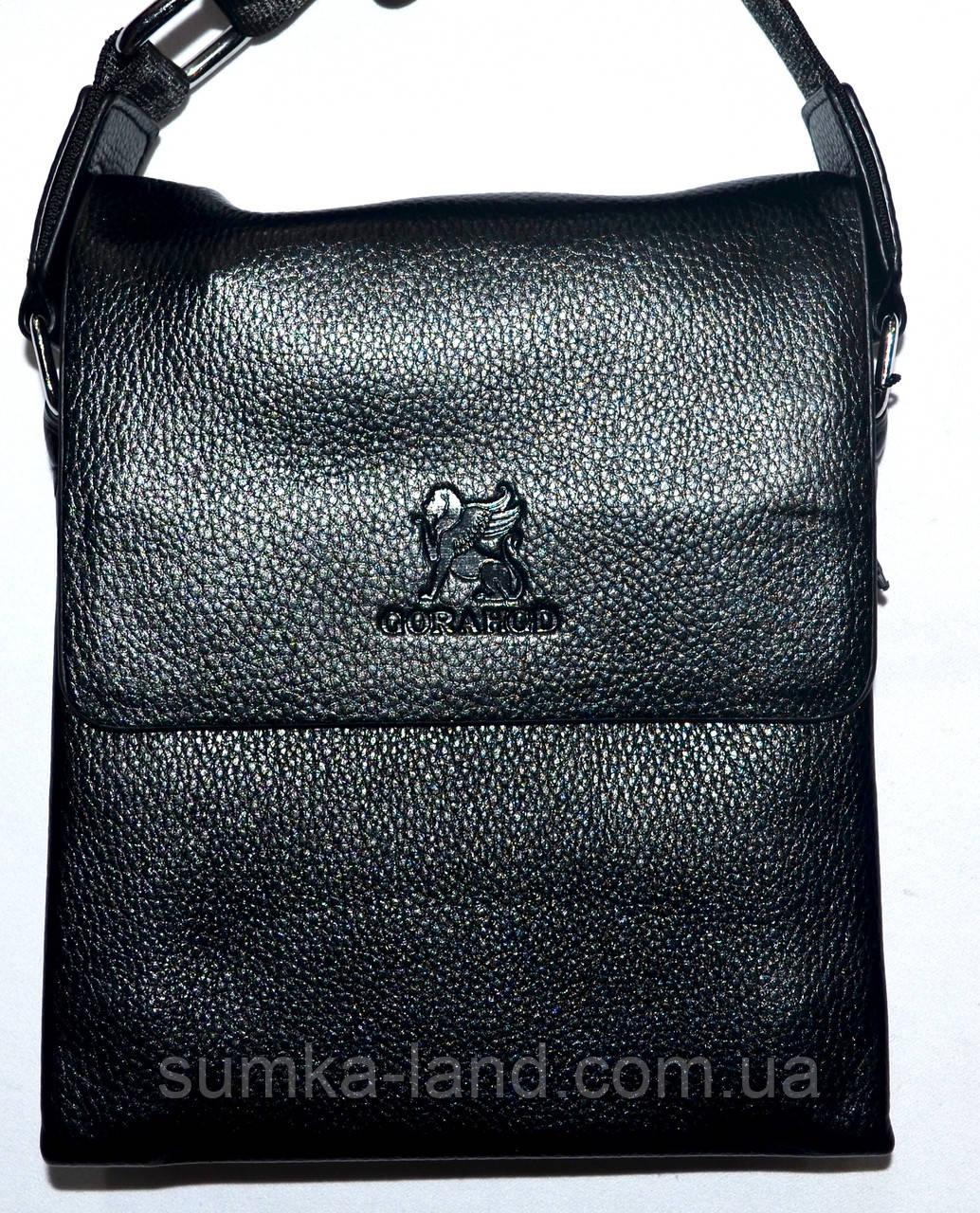 8924ab1869e0 Мужская кожаная сумка барсетка через плечо 17*21 в черном цвете ...