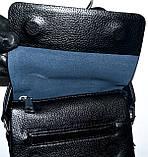 Мужская кожаная сумка барсетка через плечо 17*21 в черном цвете, фото 2