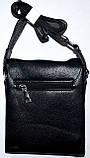 Мужская кожаная сумка барсетка через плечо 17*21 в черном цвете, фото 3