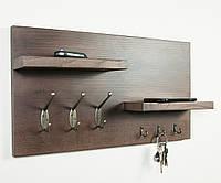 Полка - вешалка для прихожей из дерева «Rustic Shelf» в скандинавском стиле
