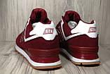 Бордовые замшевые мужские кроссовки в стиле New Balance 574(размеры в наличии:41,43,44), фото 5