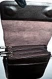Мужская кожаная сумка барсетка через плечо 17*21 черного цвета, фото 2