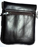 Мужская кожаная сумка барсетка через плечо 17*21 черного цвета, фото 3