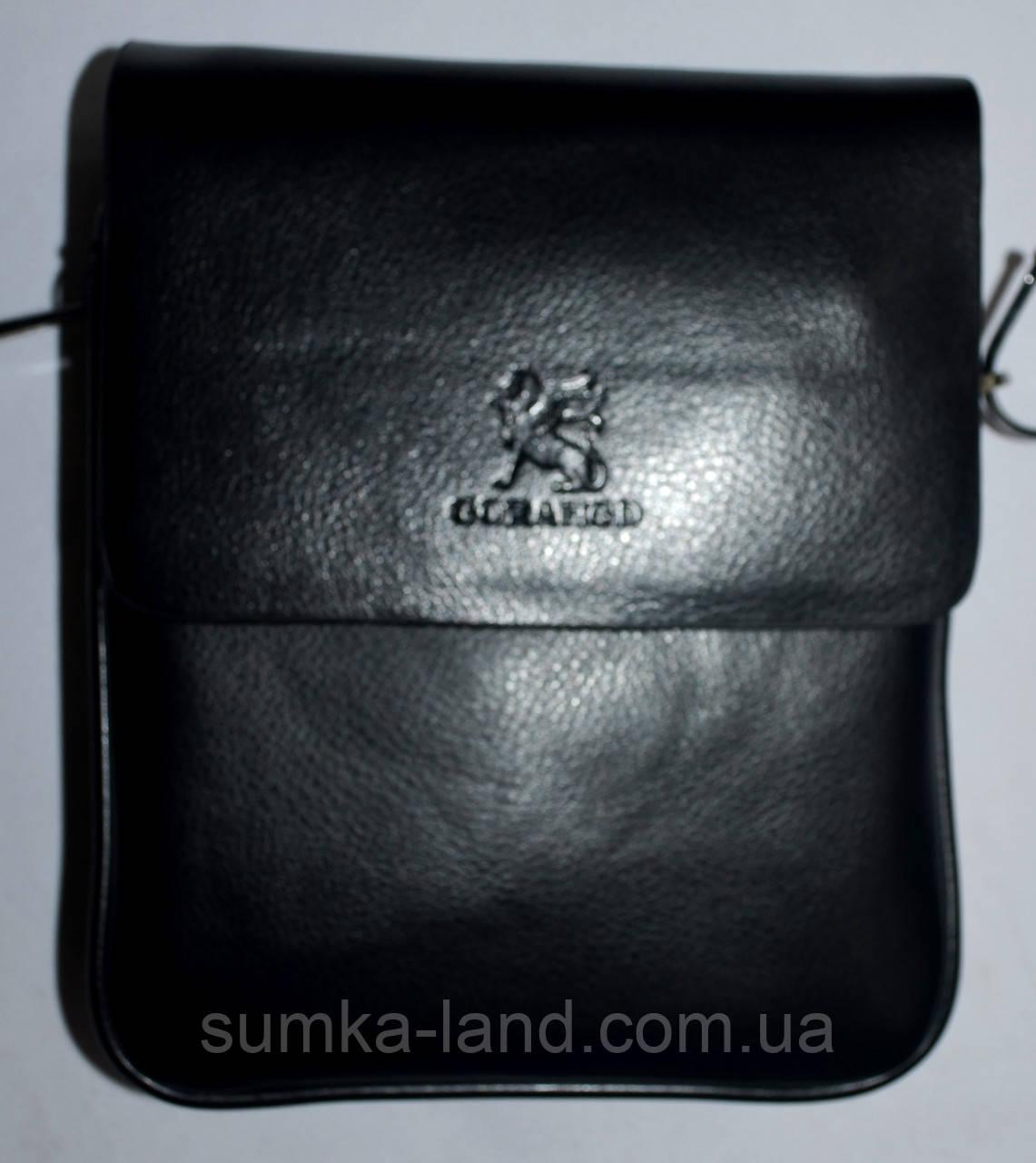 Мужская кожаная сумка барсетка через плечо 17*21 черного цвета
