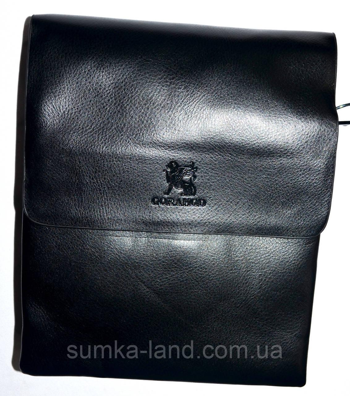 Мужская черная кожаная сумка барсетка на плечо 21*25 см