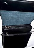 Мужская черная кожаная сумка барсетка на плечо 21*25 см, фото 2