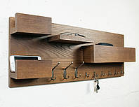 """Настенная полка - вешалка - ключница """"Organaizer 3 in 1"""" для прихожей из дерева ясень"""