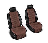 """Накидки на сиденье """"Эко-замша"""" широкие (1+1) без лого, цвет коричневый"""