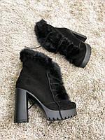 Зимние замшевые ботинки на каблуке 37 р АКЦИЯ!!, фото 1