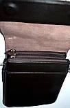 Мужская черная кожаная сумка барсетка через плечо 21*25 см, фото 2