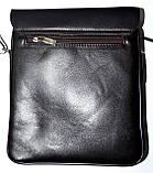 Мужская черная кожаная сумка барсетка через плечо 21*25 см, фото 4
