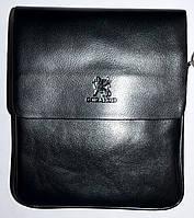Мужская черная кожаная сумка барсетка через плечо 21*25 см