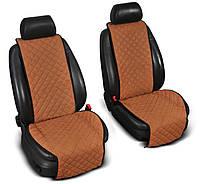 """Накидки на сиденье """"Эко-замша"""" широкие (1+1) без лого, цвет светло-коричневый"""