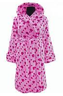 Розовый махровый халат теплый женский домашний на поясе зимний велсофт с капюшоном Украина