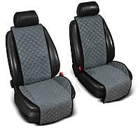 """Накидки на сиденье """"Эко-замша"""" широкие (1+1) без лого, цвет серый"""