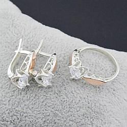 Серебряный набор, кольцо размер 18 + серьги 19*7 мм