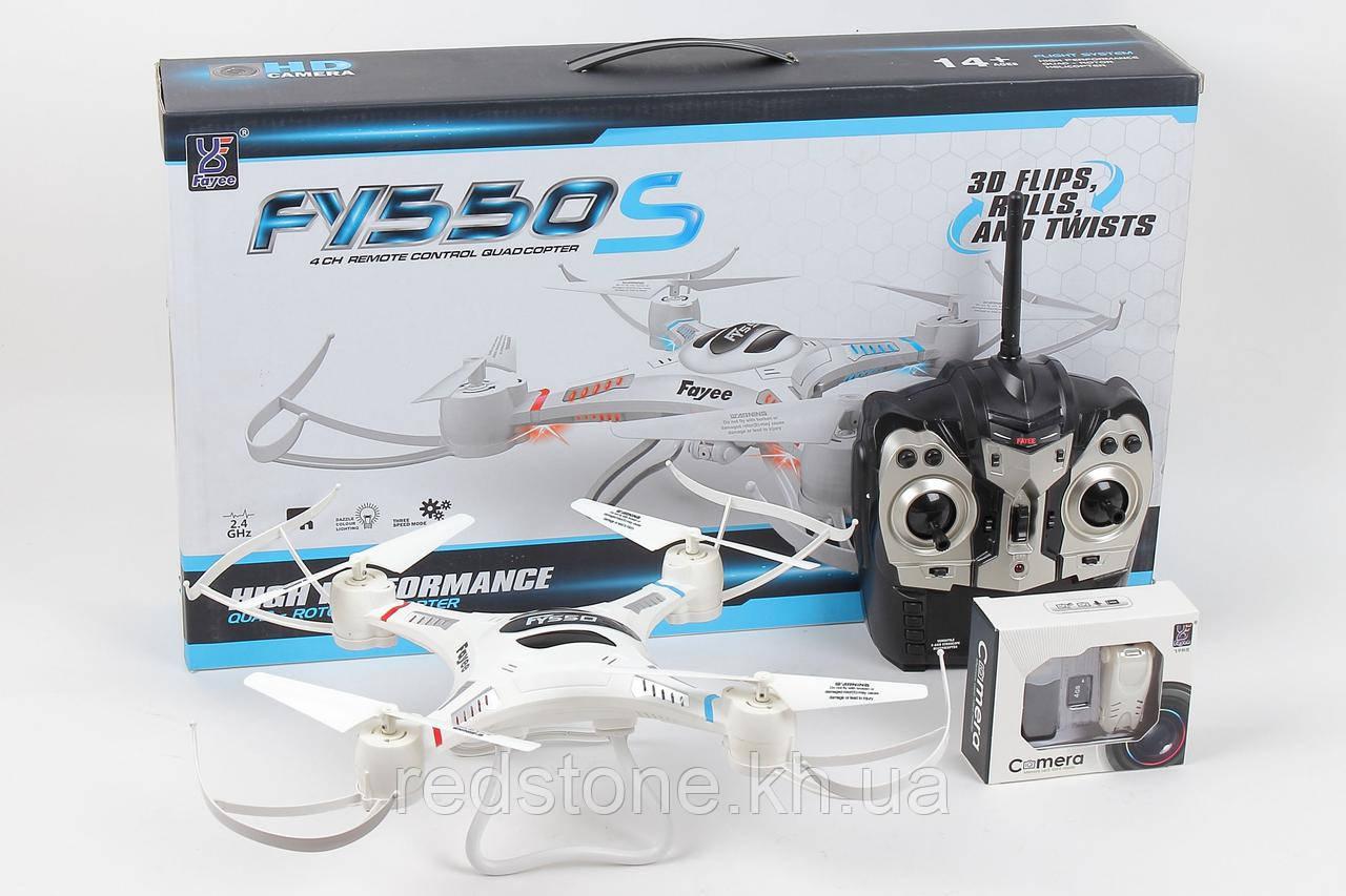 Квадрокоптер FY550 с камерой р/у, флипы-кувырки 360° с подсветкой, флеш память, карта памяти