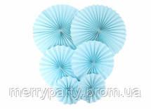 Набор бумажных вееров 6 шт./упак. голубой