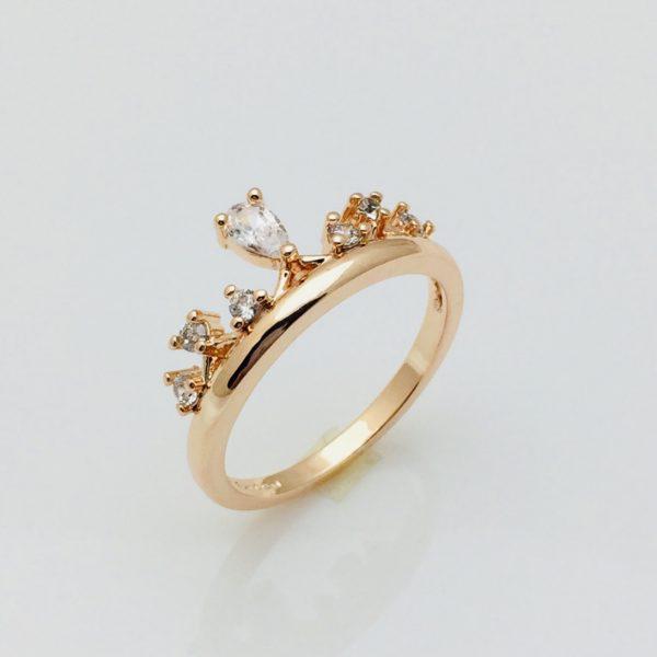 Кольцо коронка Валенсия, размер 17, 18, 19, 20 позолота 18К Fallon