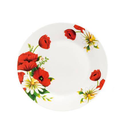 """Плоская обеденная тарелка с маками 20.5 см  8"""" """"Мак и Ромашка"""" (4356), фото 2"""