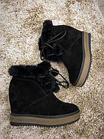 Зимние замшевые ботинки на скрытой танкетке 38,39 р, фото 1