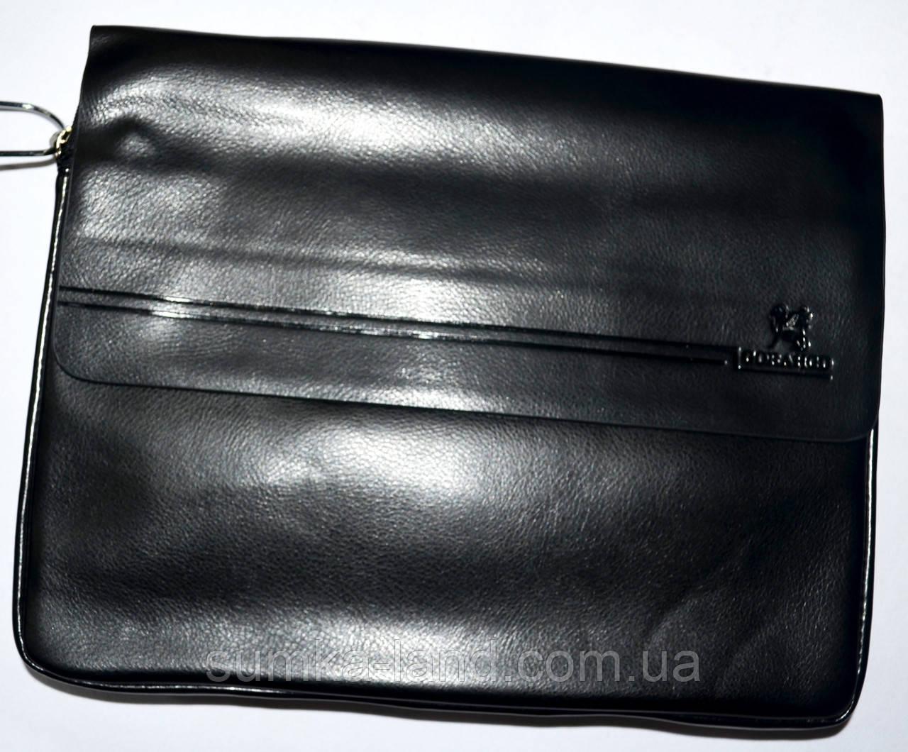Мужская черная кожаная барсетка на плечо 34*26 см