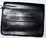 Мужская черная кожаная барсетка на плечо 34*26 см, фото 2