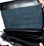 Мужская черная кожаная барсетка на плечо 34*26 см, фото 3