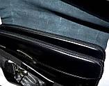 Мужская черная кожаная барсетка на плечо 34*26 см, фото 4