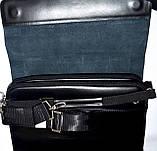 Мужская черная кожаная барсетка на плечо 34*26 см, фото 5