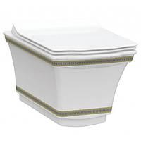 Подвесной безободковый унитаз IDEVIT Neo Classic Iderimless (3304-0616-0088) белый/декор золото