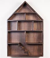 """Оригинальная полка из натурального дерева """"Dollhouse Brown"""" для гостиной комнаты"""
